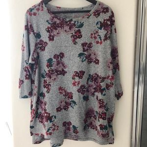 Lane Bryant Floral 3/4 Sleeve Sweater, Shirt